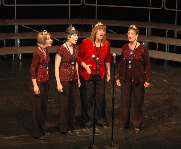 "Lorie, Laurie, Lynn, and Mary Ann singing ""This is the Moment"". THANKS LYNN!!"